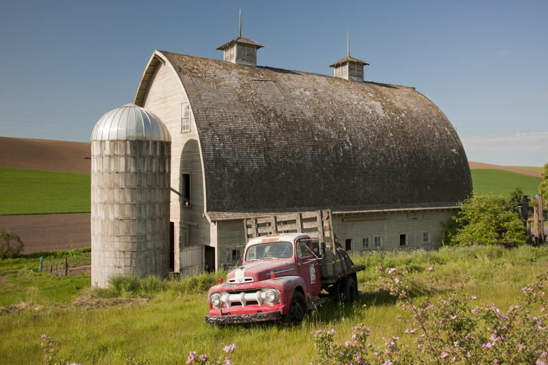 Barn with Vintage Red Pick Up Truck